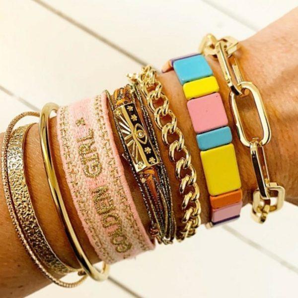 Bracelet fantaisie Tissé Rose Doré | MYA-BAY