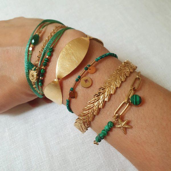 Bracelet Perles Pierre Malachite   IKITA