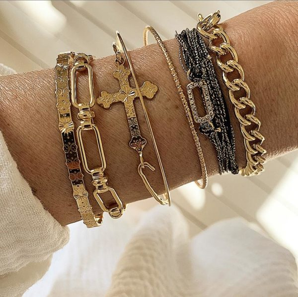 Bracelet Fantaisie Doré Jonc Croix   MYA-BAY