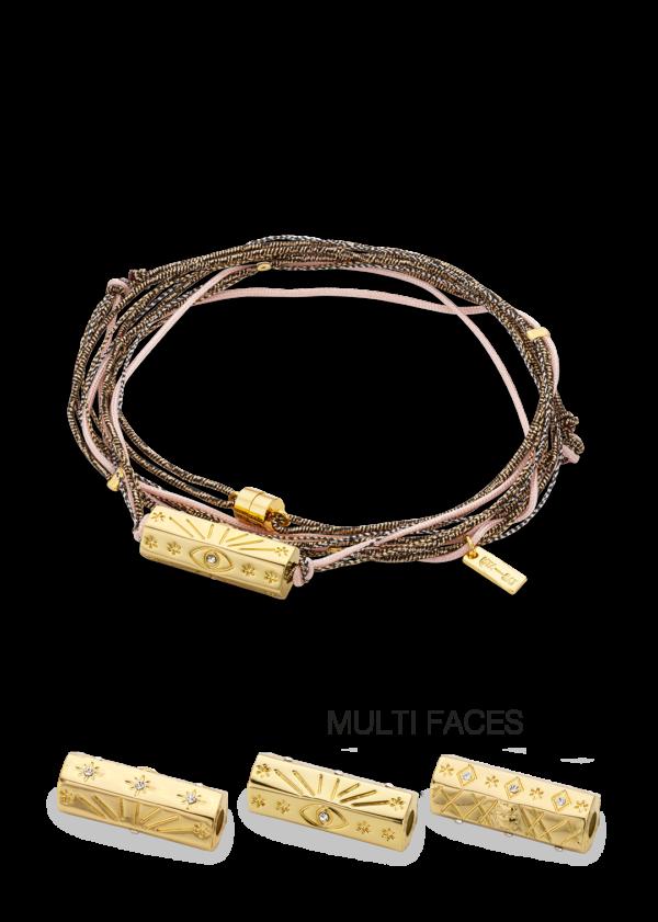Bracelet fantaisie Multi Cordons Rose   MYA-BAY