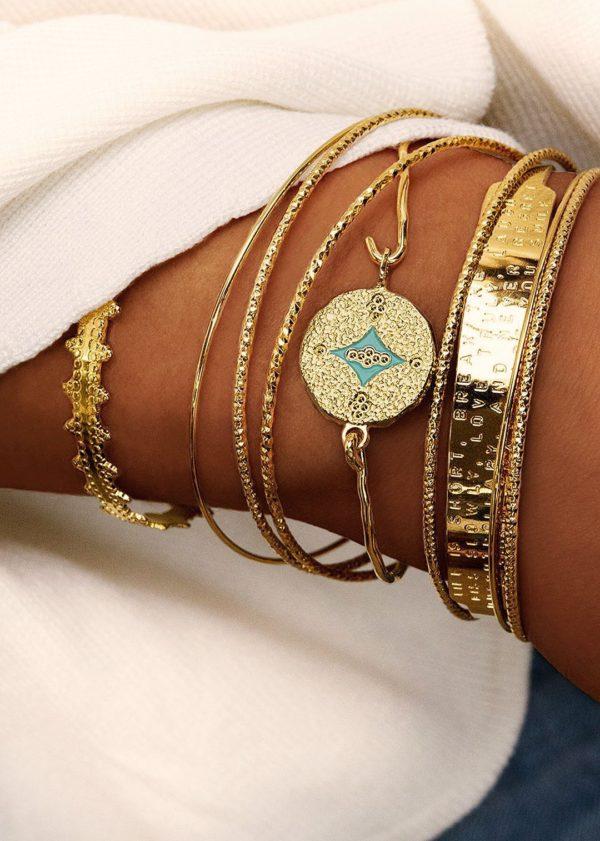 Bracelet fantaisie Jonc Pièce Martelée Email Turquoise   MYA-BAY