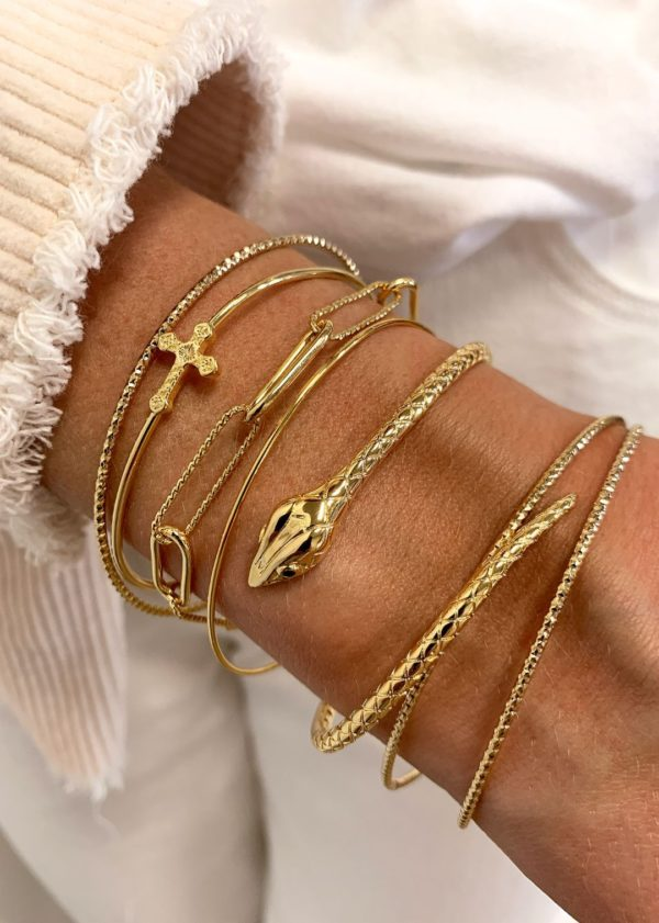 Bracelet fantaisie Doré Serpent Pierres Fines Noires   MYA BAY