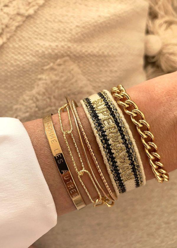 Bracelet fantaisie Tissé Doré Beige Et Noir| MYA-BAY