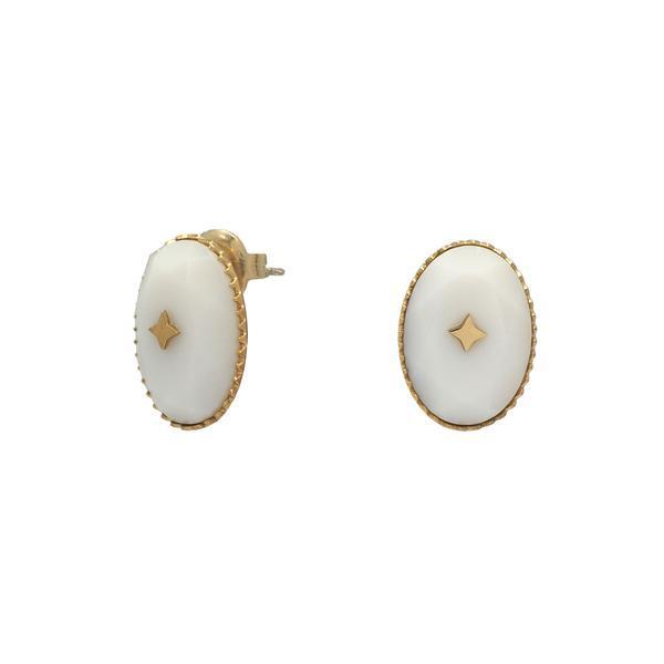 Boucles D'oreilles Agate Blanche Et Etoile | IKITA