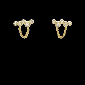 Boucles d'oreilles fantaisie Dorées Pierres Fines Blanches | MYA BAY