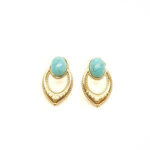 Boucles D'oreilles Pierre Ovale Turquoise | SHABADA