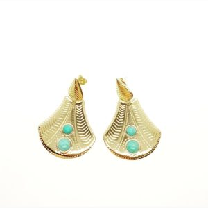 Boucles Eventail Pierre Turquoise | SHABADA