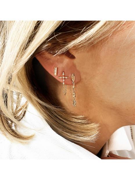 Boucles d'oreilles Chaîne Croix | MYA-BAY