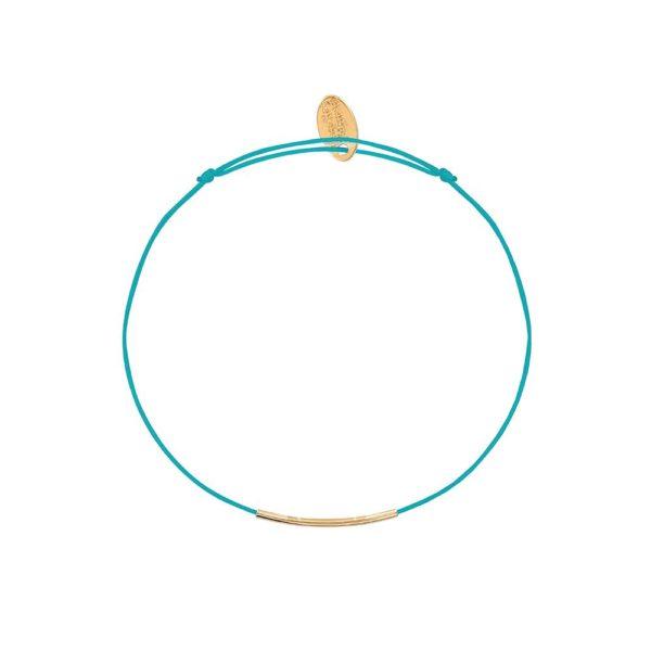 Bracelet Cordon Turquoise Tube Doré | CAROLINE NAJMAN