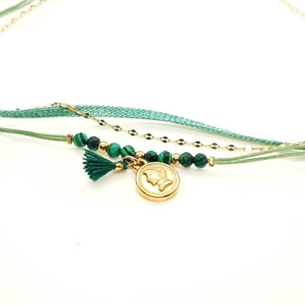 Bracelet Cordon Vert Pierre Malachite | IKITA