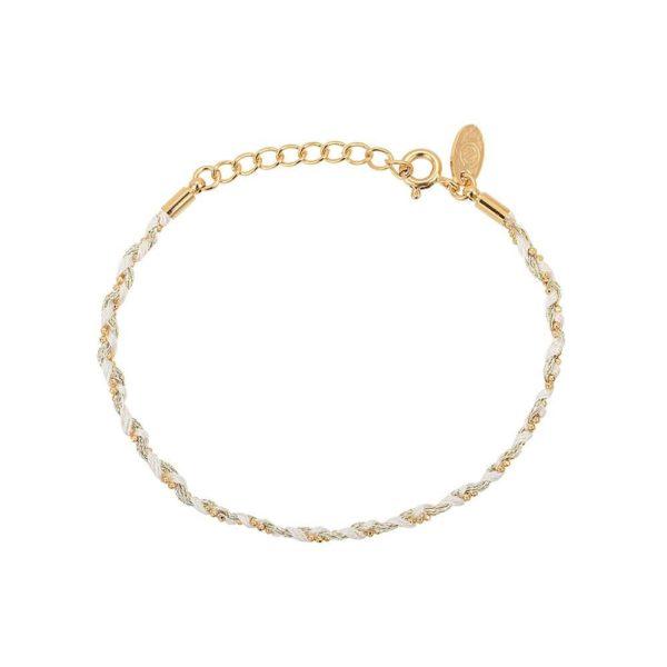 Bracelet Coton Tressé Blanc Doré | CAROLINE NAJMAN
