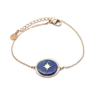 Bracelet Doré Avec Pierre Lapis Lazuli | IKITA