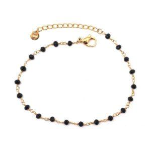 Bracelet Doré Perles Noires | IKITA