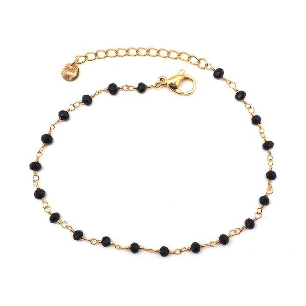Bracelet Doré Perles Noires   IKITA