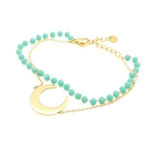 Bracelet Double Rangs Lune Et Pierres Turquoise | IKITA