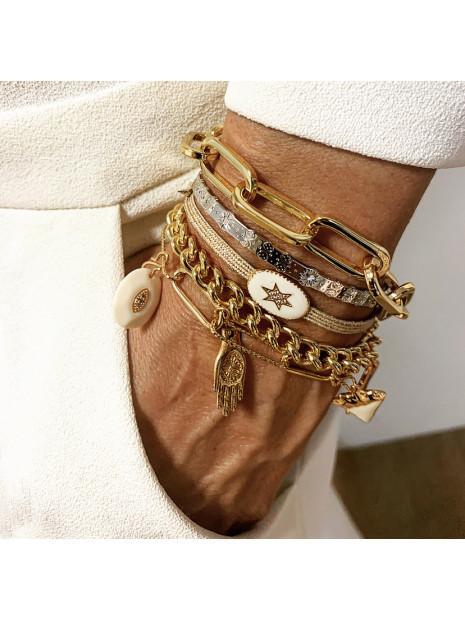 Bracelet fantaisie Cordon Fil Irisé Ornement Ivoire  | MYA-BAY