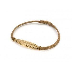 Bracelet fantaisie Cordon Irisé Feuille Dorée | MYA-BAY