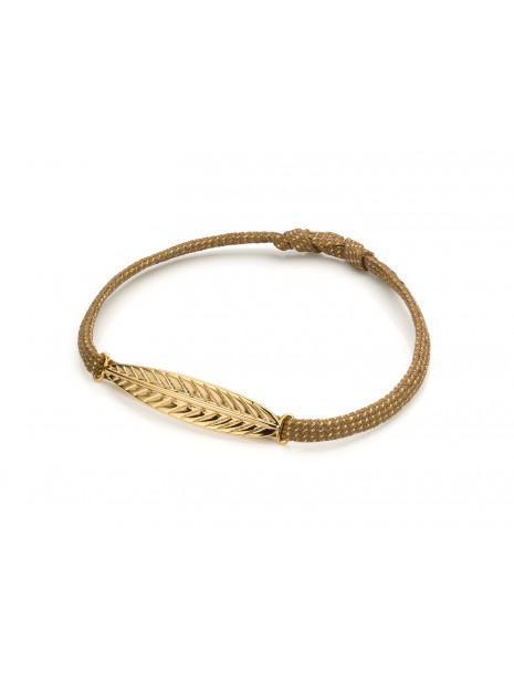 Bracelet fantaisie Cordon Irisé Feuille Dorée   MYA-BAY