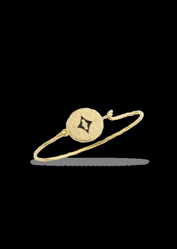 Bracelet fantaisie Jonc Pièce Martelée Email Noir | MYA-BAY