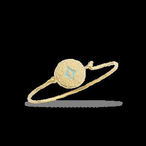 Bracelet fantaisie Jonc Pièce Martelée Email Turquoise | MYA-BAY