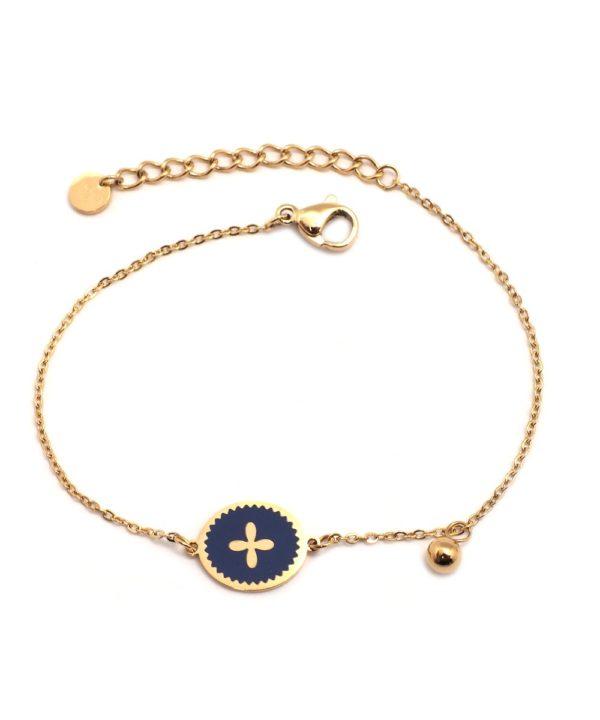Bracelet Fleur Sur Email Bleu Foncé | IKITA