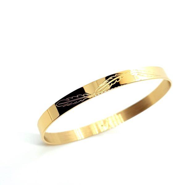 Bracelet Jonc Gravé Plumes | IKITA