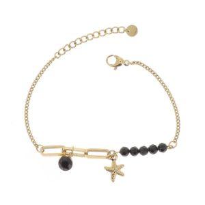 Bracelet Maille Pierres Agate noire | IKITA