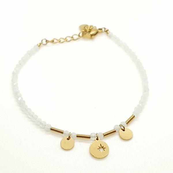 Bracelet Perles Pierre Naturelle Blanche   IKITA
