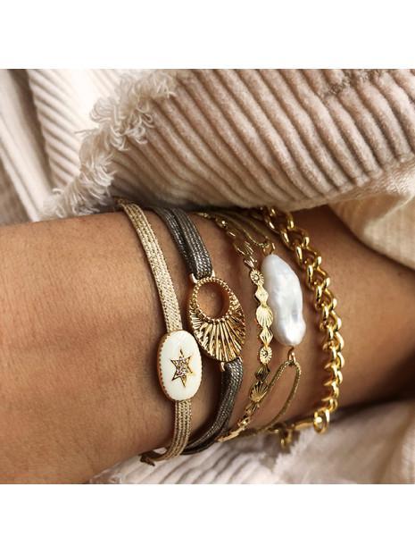Bracelet fantaisie Cordon Pierre Blanche | MYA-BAY