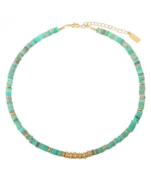 collier bianca perles chrysoprase