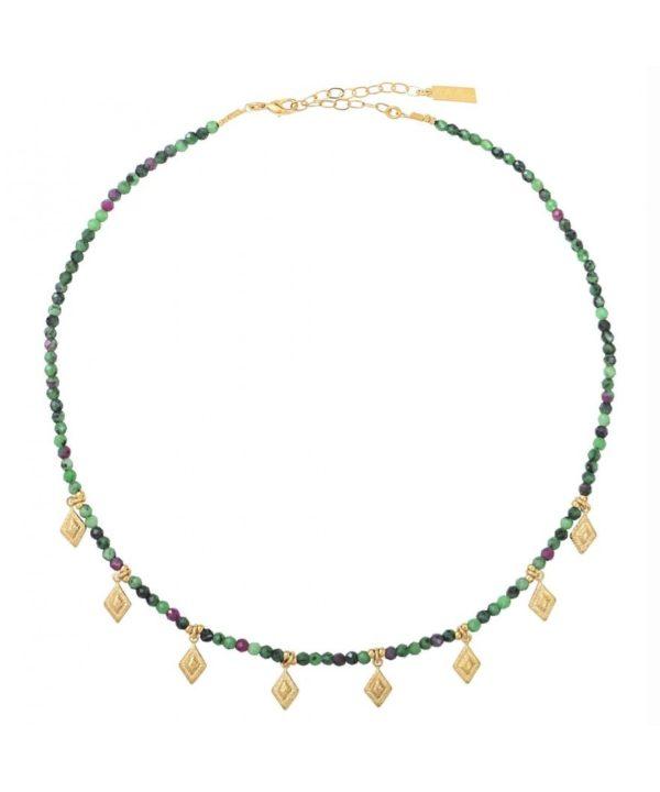 collier jade perles rubis zoisite
