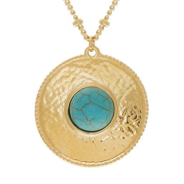 Collier Médaille Martelée Pierre Turquoise   SHABADA