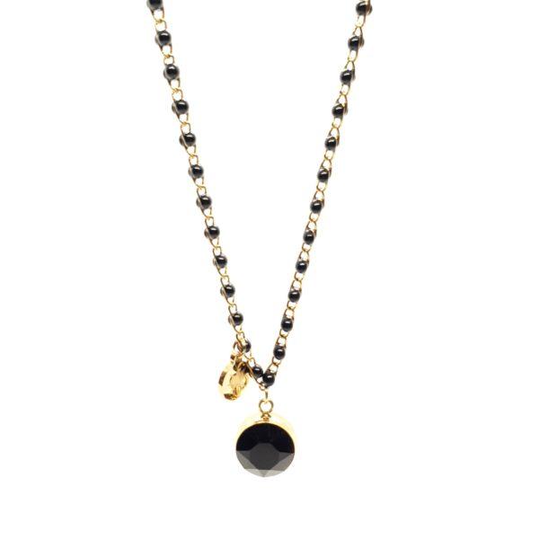 Collier Noir Perles et Cristaux Swarovski | BOHM
