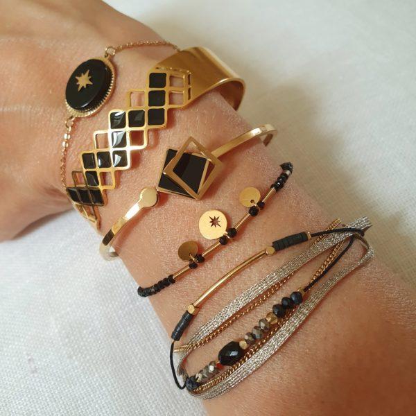Bracelet Cordon Noir Avec Pierre Agate | IKITA