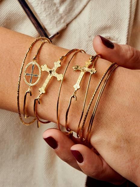 Bracelet Fantaisie Doré  Jonc Croix Email Noir | MYA-BAY