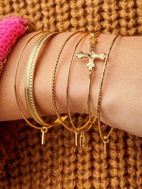 Bracelet Fantaisie Doré  Jonc Texturé   MYA-BAY