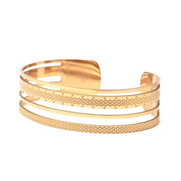 Bracelet Jonc Multi Rangs Gravés   IKITA