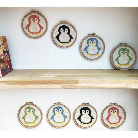 motifs punch needle pingouin licorne bateau phare pour déco chambre enfants