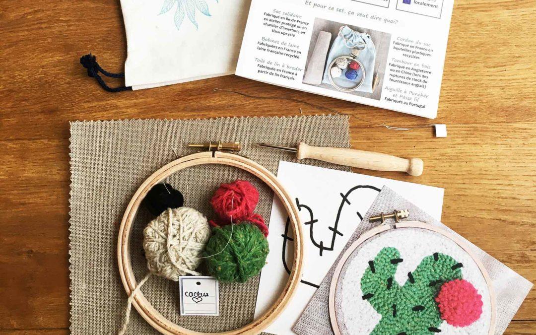 kit punch needle cactus tout materiel outil nécessaire aiguille magique tambour tissu toile fil laine passe-fil tuto