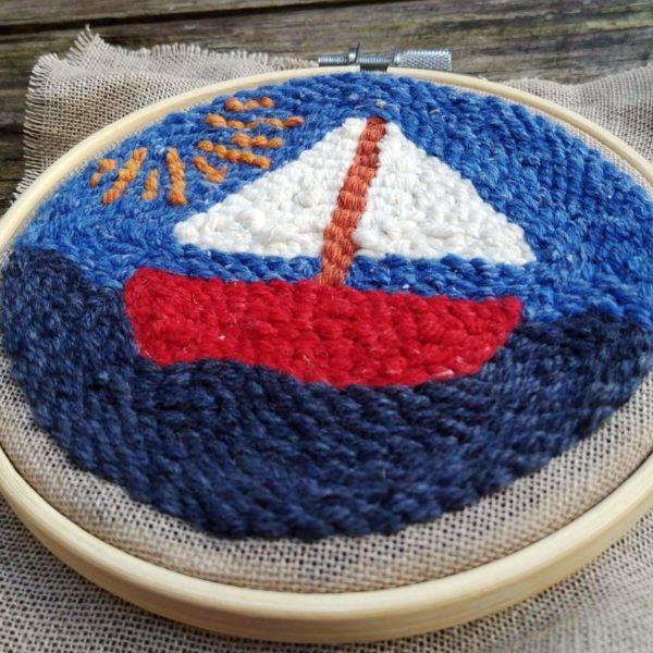 bateau set punch needle fabrique en france circulaire et solidaire cadeau enfant adulte deco