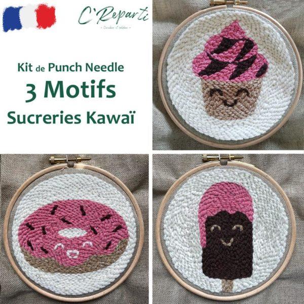kit 3 motifs sucreries kawai