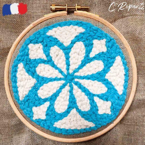 kit punch needle azulejos turquoise