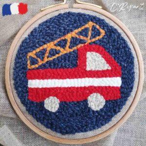 motif punch needle camion de pompier