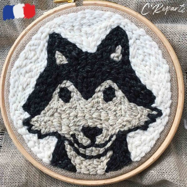 kit punch needle chien loup