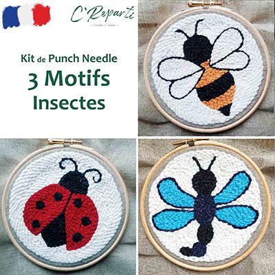 kit punch needle coccinelle abeille libellule