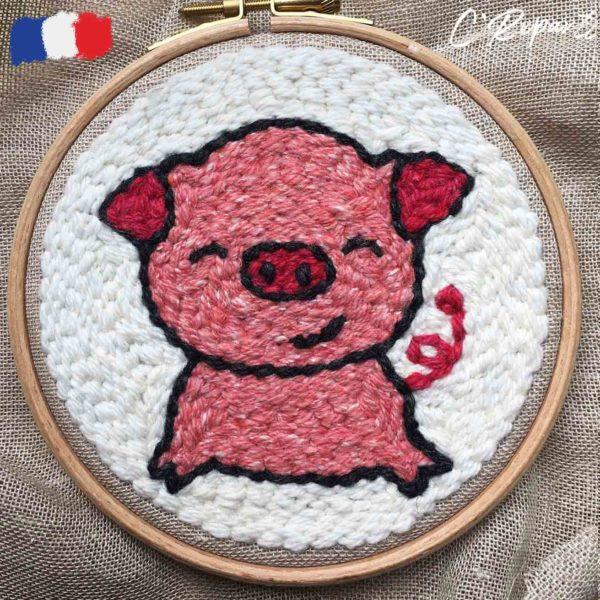 kit punch needle cochon demi sourire
