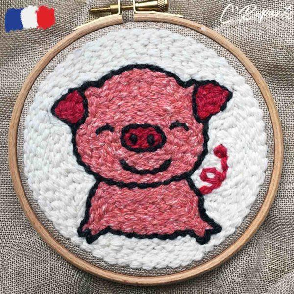 kit punch needle cochon grand sourire