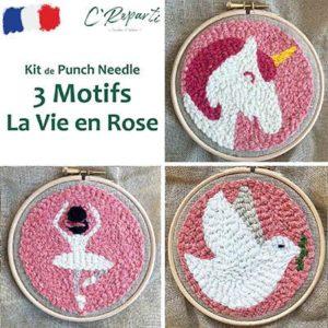 Kit Punch Needle 3 Motifs Vie en Rose licorne ballerine colombe