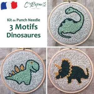 kit punch needle dinosaures stegosaure triceratops dipodocus
