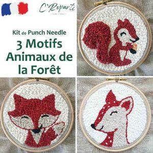 Kit Punch Needle 3 Motifs Forêt écureuil biche renard